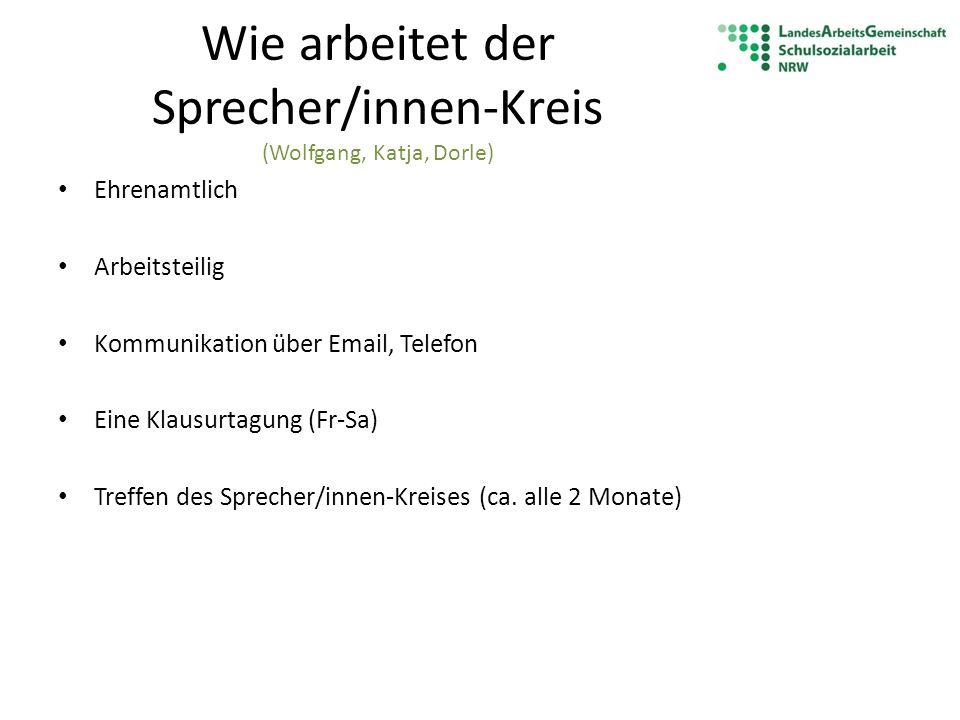 Wie arbeitet der Sprecher/innen-Kreis (Wolfgang, Katja, Dorle)