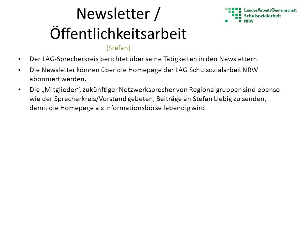Newsletter / Öffentlichkeitsarbeit (Stefan)