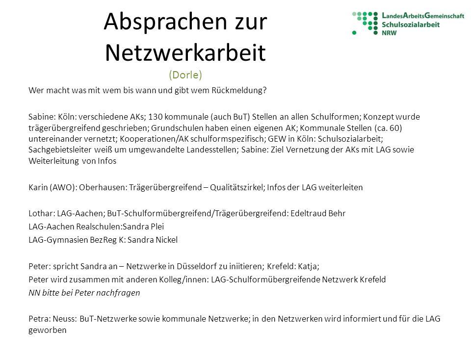 Absprachen zur Netzwerkarbeit (Dorle)