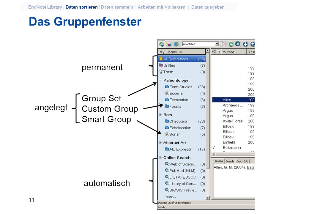 Das Gruppenfenster permanent Group Set Custom Group angelegt