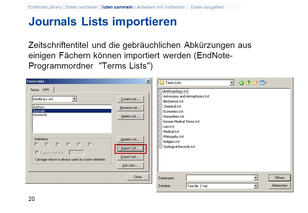Journals Lists importieren