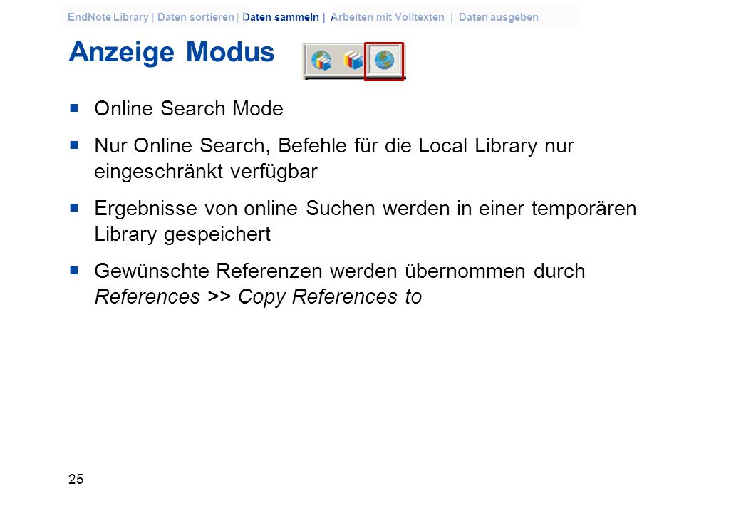 Anzeige Modus Online Search Mode