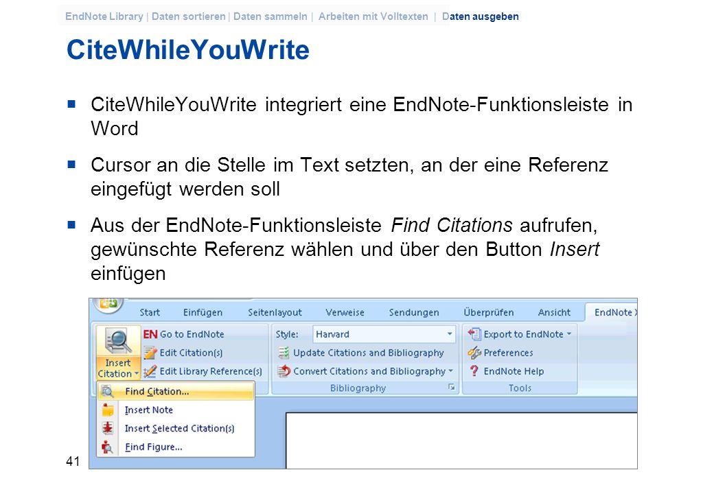 CiteWhileYouWriteCiteWhileYouWrite integriert eine EndNote-Funktionsleiste in Word.