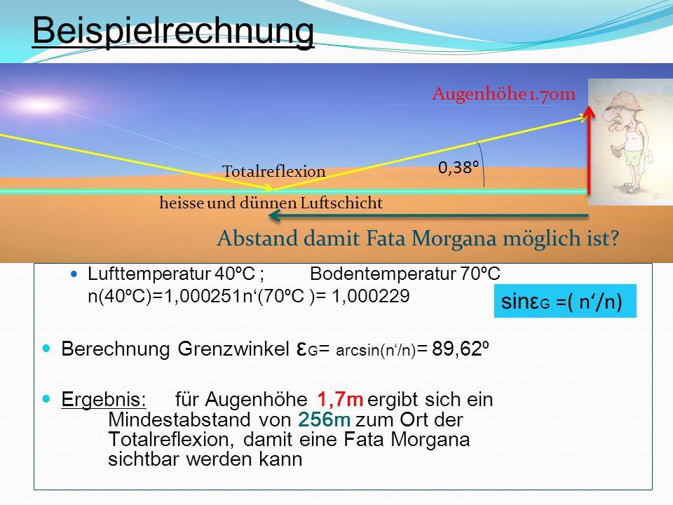 Beispielrechnung Abstand damit Fata Morgana möglich ist
