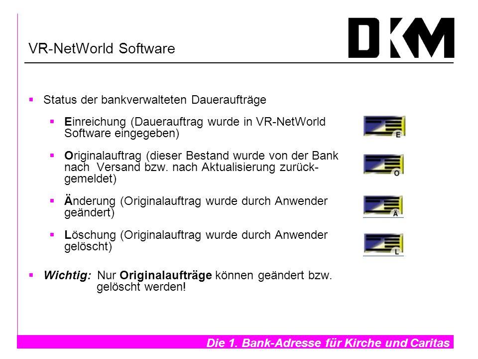 VR-NetWorld Software Status der bankverwalteten Daueraufträge