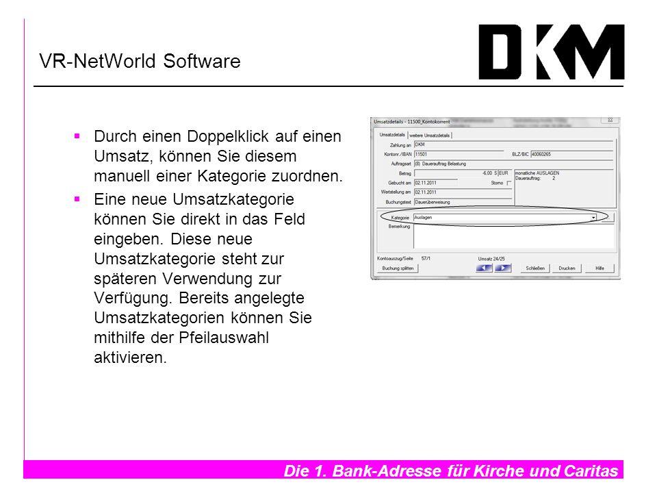 VR-NetWorld Software Durch einen Doppelklick auf einen Umsatz, können Sie diesem manuell einer Kategorie zuordnen.