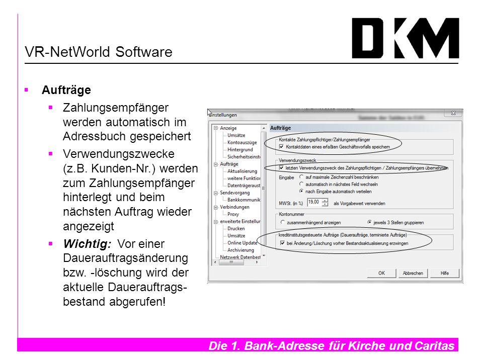 VR-NetWorld Software Aufträge. Zahlungsempfänger werden automatisch im Adressbuch gespeichert.