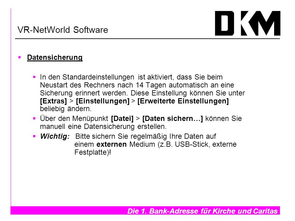 VR-NetWorld Software Datensicherung