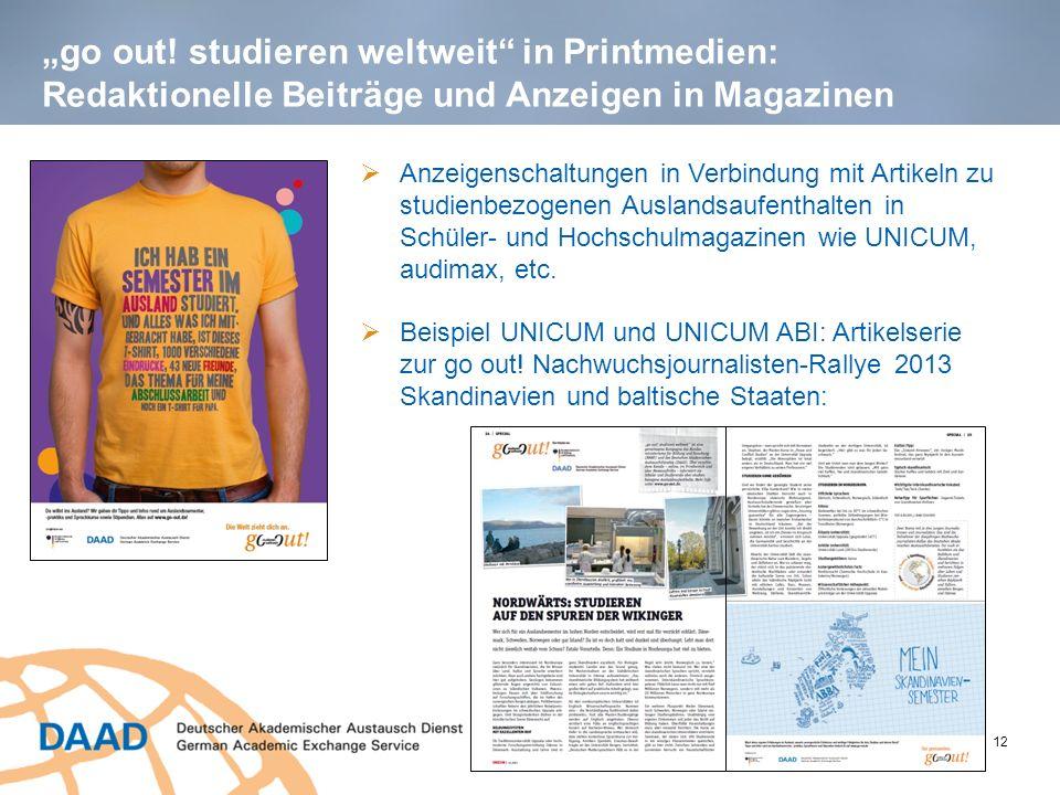 """""""go out! studieren weltweit in Printmedien: Redaktionelle Beiträge und Anzeigen in Magazinen"""
