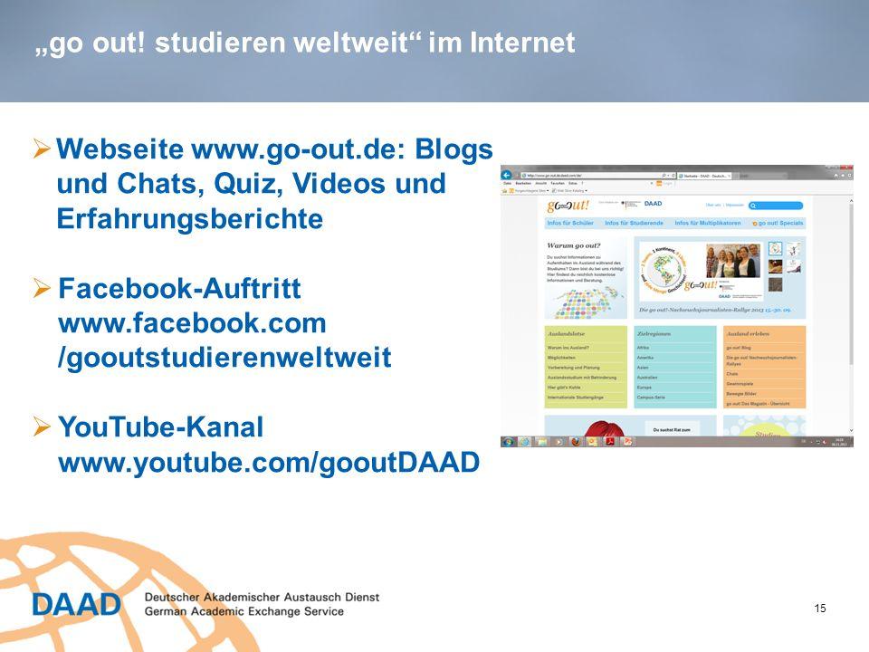 """""""go out! studieren weltweit im Internet"""