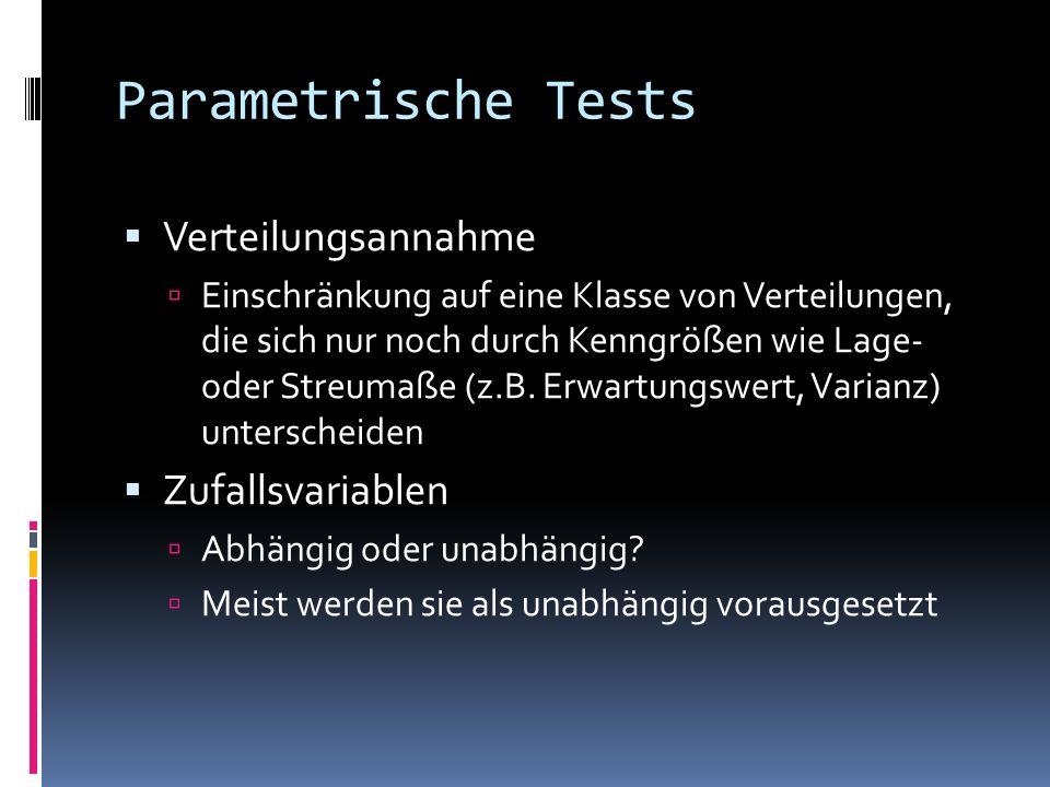 Parametrische Tests Verteilungsannahme Zufallsvariablen