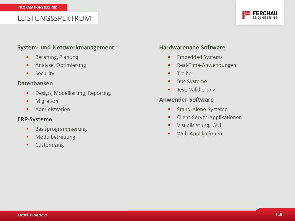 Leistungsspektrum System- und Netzwerkmanagement Datenbanken