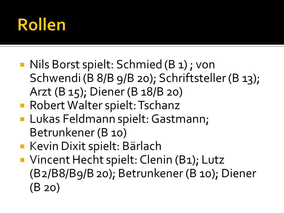 Rollen Nils Borst spielt: Schmied (B 1) ; von Schwendi (B 8/B 9/B 20); Schriftsteller (B 13); Arzt (B 15); Diener (B 18/B 20)