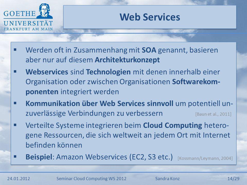 Web Services Werden oft in Zusammenhang mit SOA genannt, basieren aber nur auf diesem Architekturkonzept.