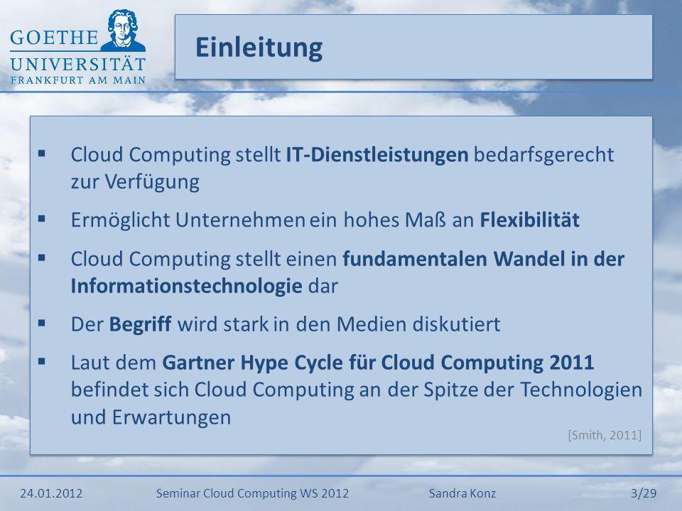 Einleitung Cloud Computing stellt IT-Dienstleistungen bedarfsgerecht zur Verfügung. Ermöglicht Unternehmen ein hohes Maß an Flexibilität.