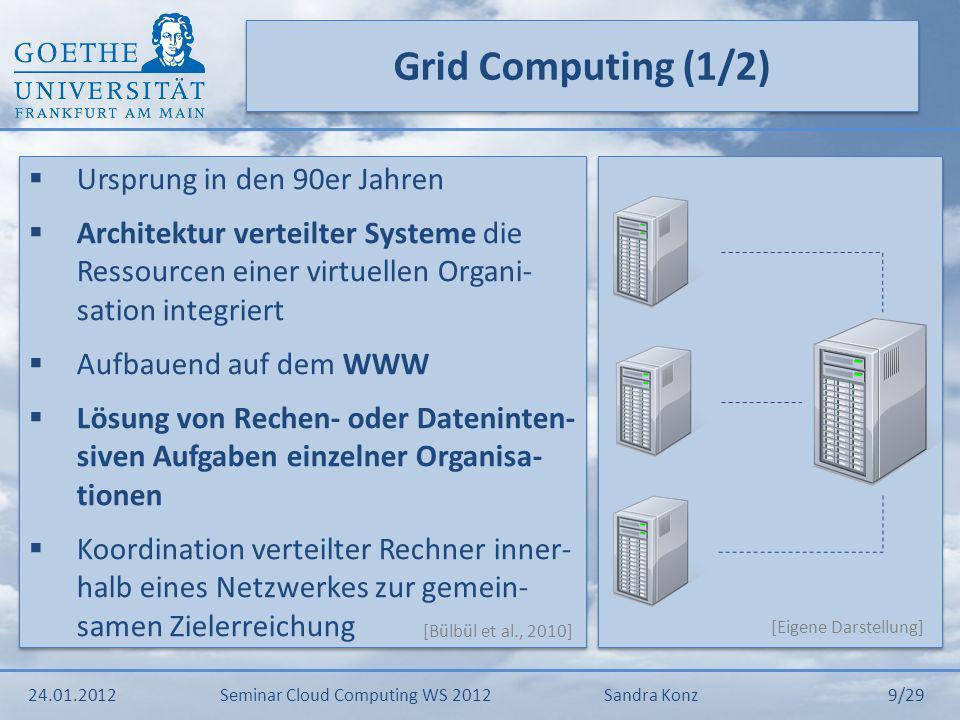 Grid Computing (1/2) Ursprung in den 90er Jahren