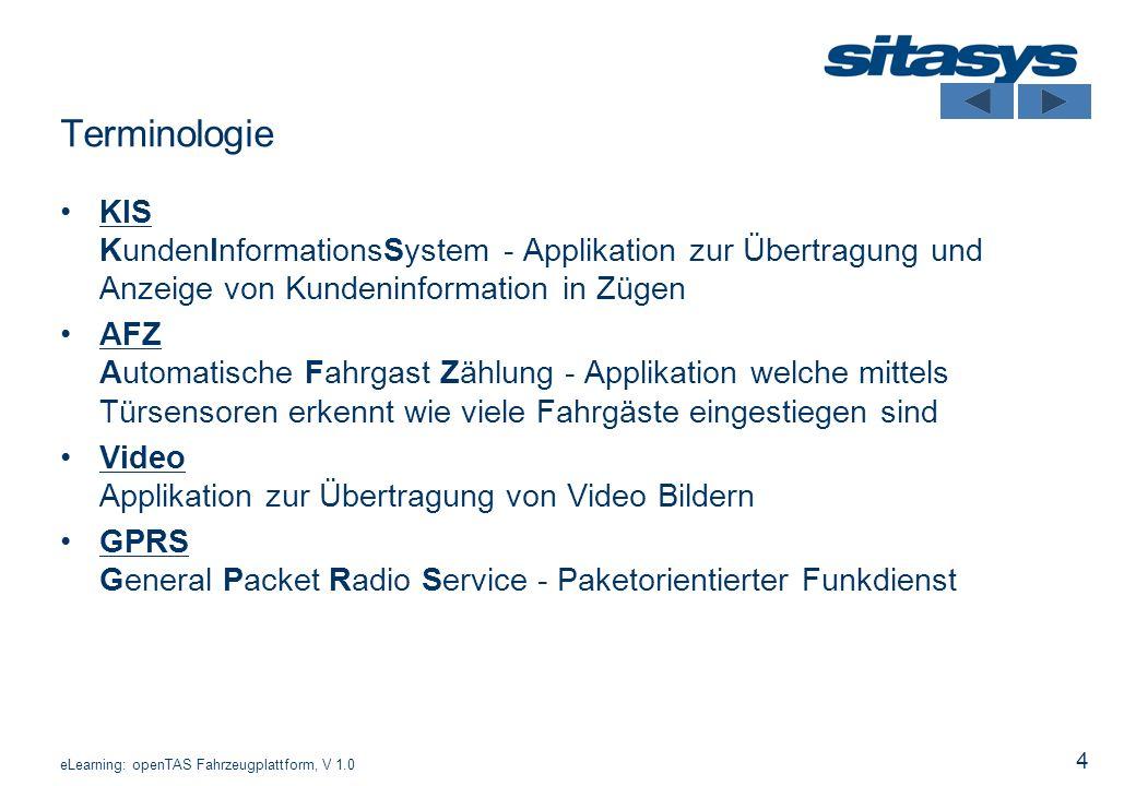 Terminologie KIS KundenInformationsSystem - Applikation zur Übertragung und Anzeige von Kundeninformation in Zügen.