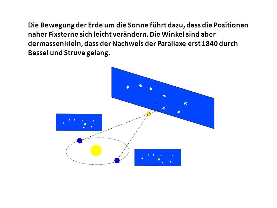 Die Bewegung der Erde um die Sonne führt dazu, dass die Positionen naher Fixsterne sich leicht verändern.