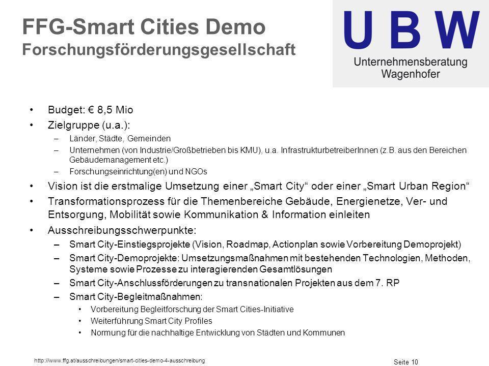 FFG-Smart Cities Demo Forschungsförderungsgesellschaft