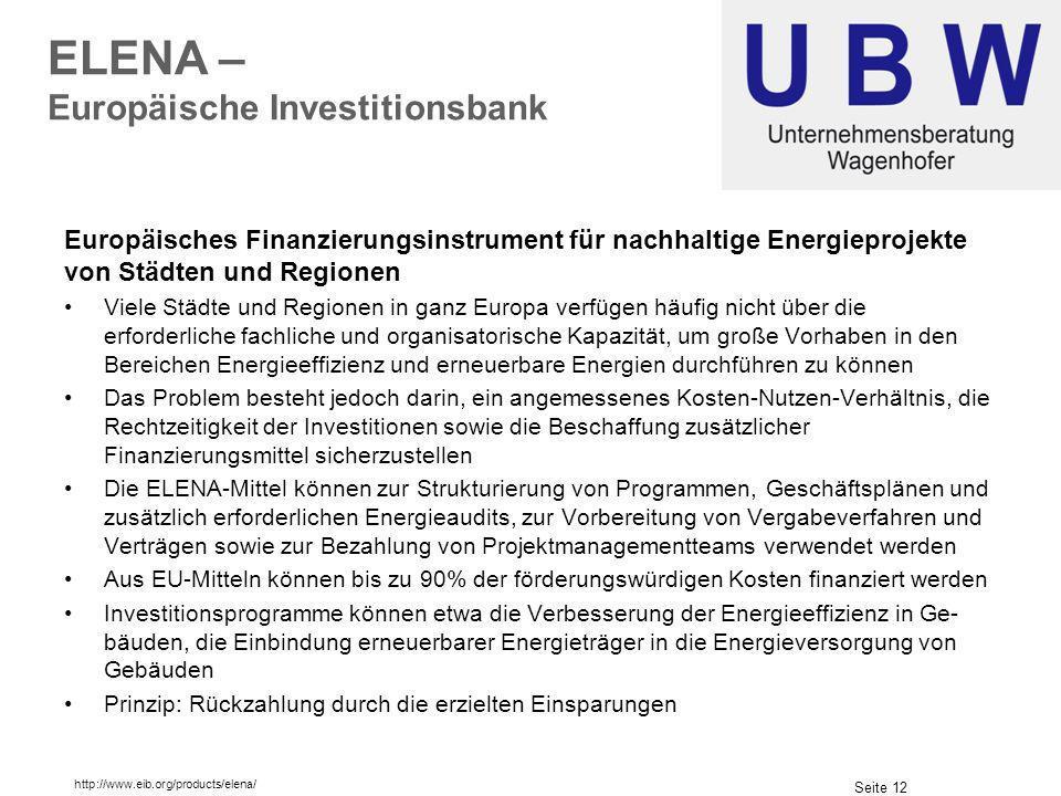 ELENA – Europäische Investitionsbank