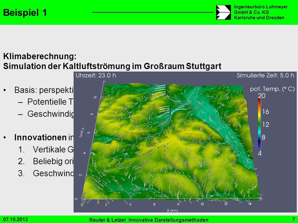 Beispiel 1 Klimaberechnung: Simulation der Kaltluftströmung im Großraum Stuttgart. Basis: perspektivische 3D-Darstellung.