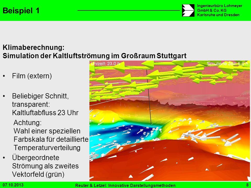 Beispiel 1 Klimaberechnung: Simulation der Kaltluftströmung im Großraum Stuttgart. Film (extern)