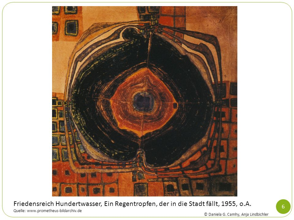 Friedensreich Hundertwasser, Ein Regentropfen, der in die Stadt fällt, 1955, o.A.
