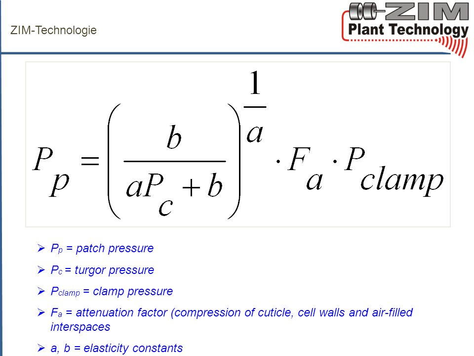 ZIM-Technologie Pp = patch pressure. Pc = turgor pressure. Pclamp = clamp pressure.
