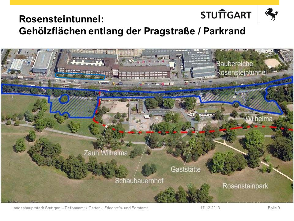 Rosensteintunnel: Gehölzflächen entlang der Pragstraße / Parkrand