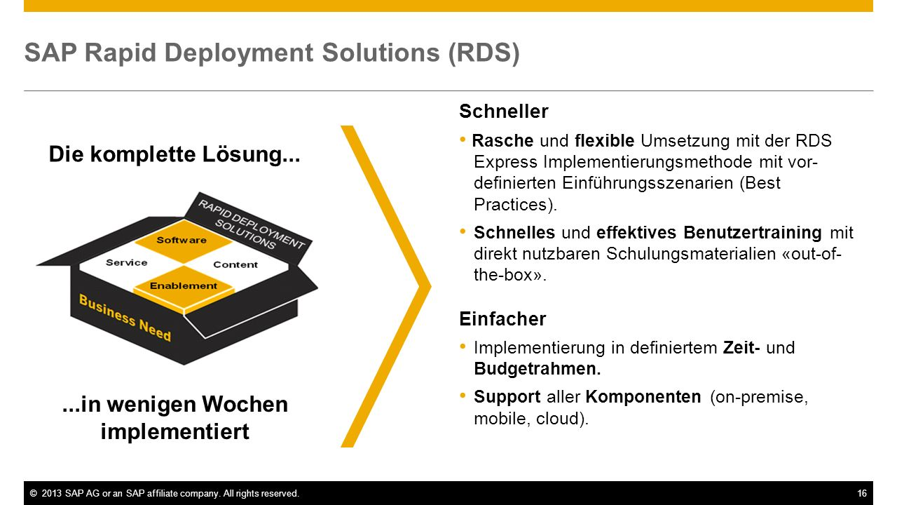 SAP Rapid Deployment Solutions (RDS)