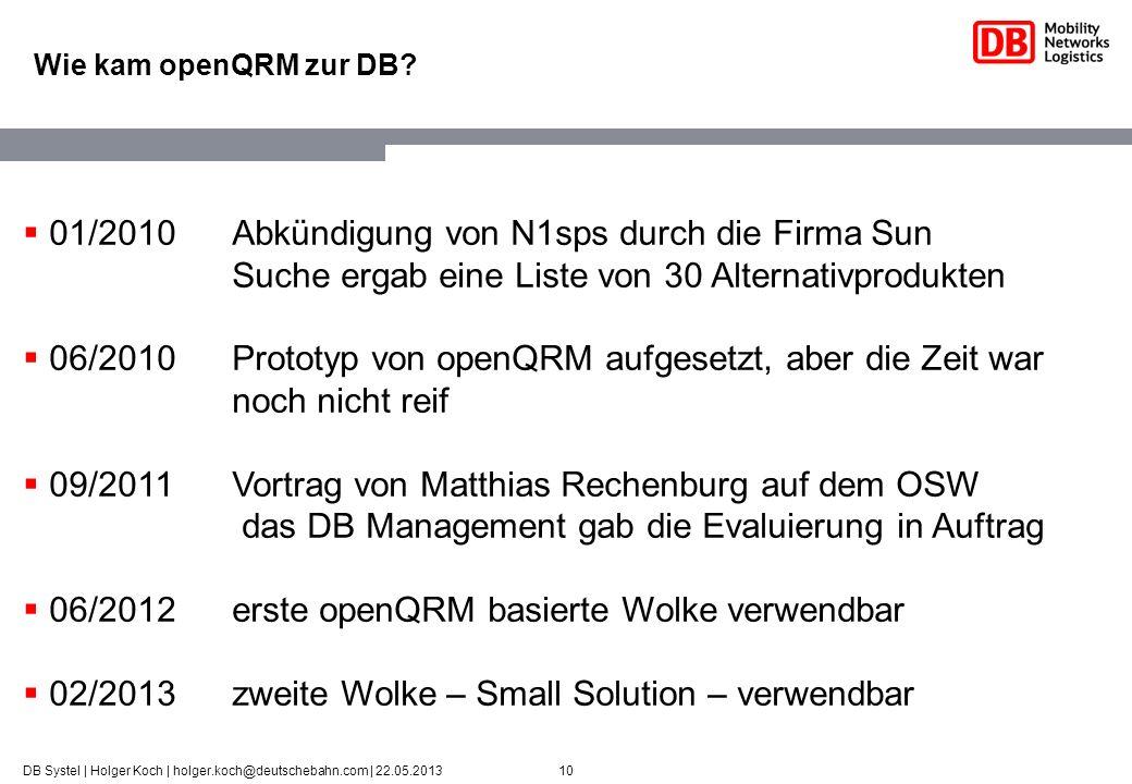 06/2012 erste openQRM basierte Wolke verwendbar