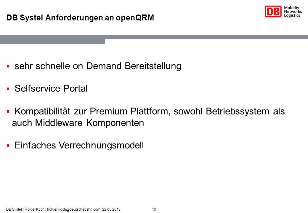 DB Systel Anforderungen an openQRM