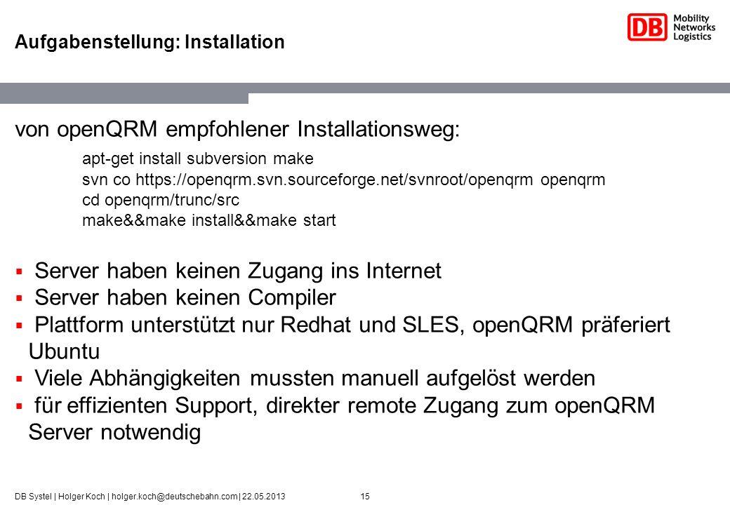 Aufgabenstellung: Installation