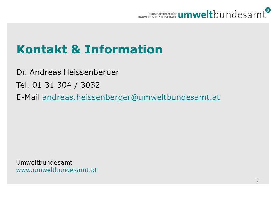 Kontakt & Information Dr. Andreas Heissenberger Tel. 01 31 304 / 3032