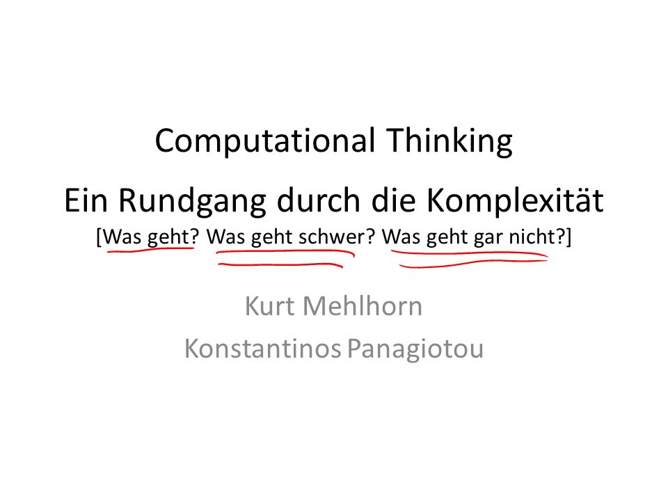Kurt Mehlhorn Konstantinos Panagiotou