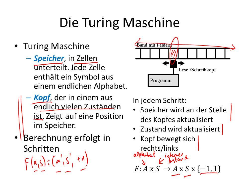 Die Turing Maschine Turing Maschine Berechnung erfolgt in Schritten