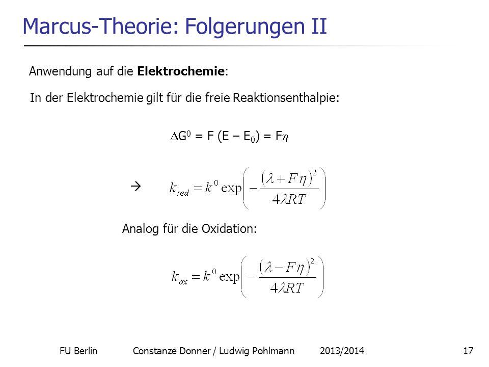 Marcus-Theorie: Folgerungen II
