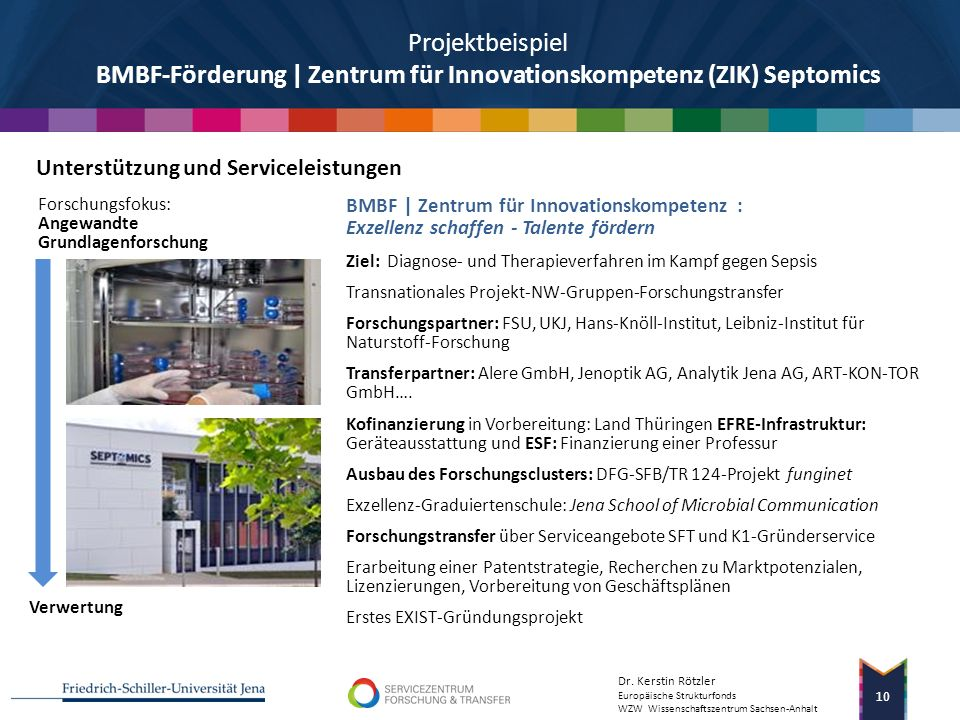 Projektbeispiel BMBF-Förderung | Zentrum für Innovationskompetenz (ZIK) Septomics