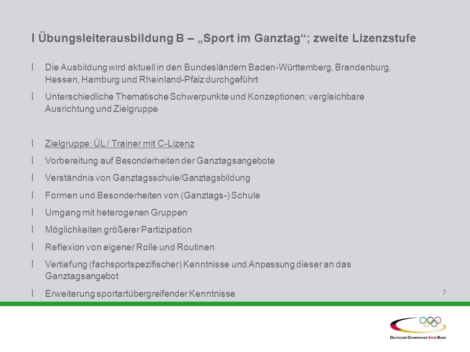 """l Übungsleiterausbildung B – """"Sport im Ganztag ; zweite Lizenzstufe"""