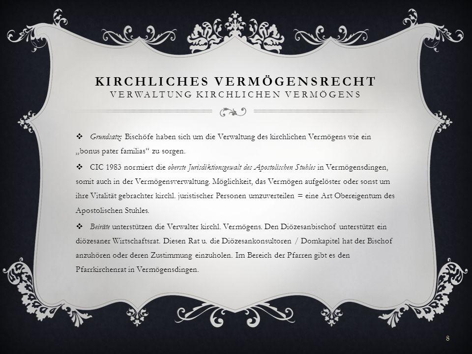 Kirchliches Vermögensrecht Verwaltung Kirchlichen Vermögens