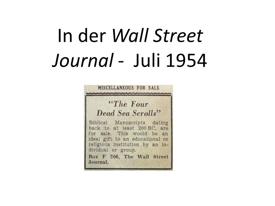 In der Wall Street Journal - Juli 1954
