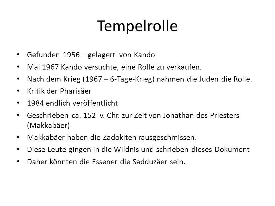 Tempelrolle Gefunden 1956 – gelagert von Kando