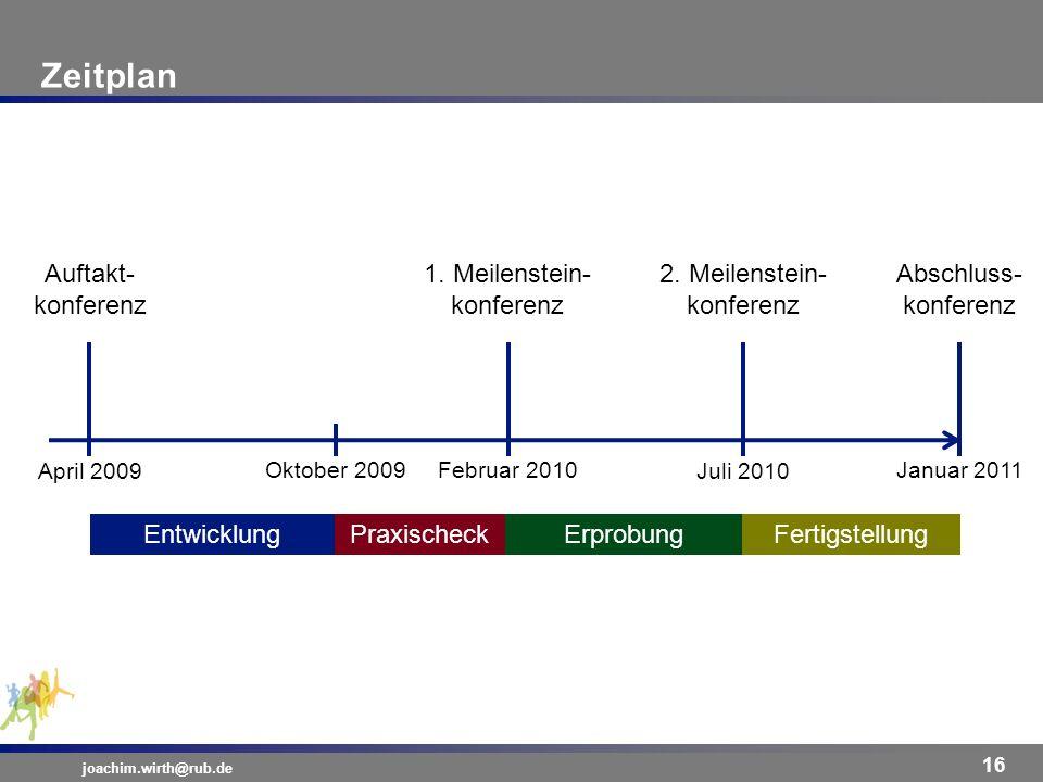 Zeitplan Auftakt- konferenz 1. Meilenstein- konferenz
