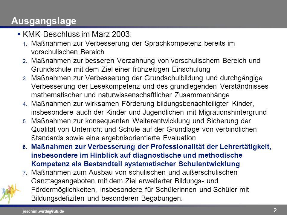 Ausgangslage KMK-Beschluss im März 2003: