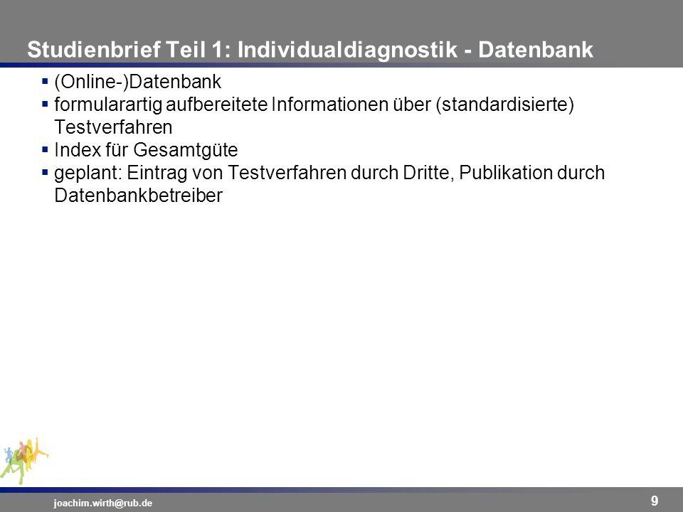 Studienbrief Teil 1: Individualdiagnostik - Datenbank