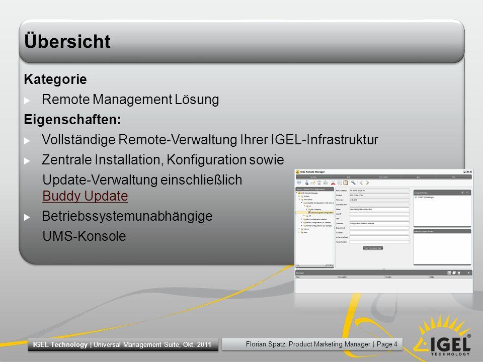 Übersicht Kategorie Remote Management Lösung Eigenschaften: