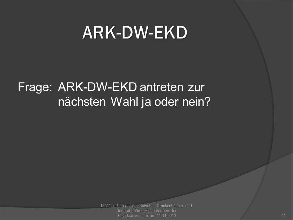 ARK-DW-EKD Frage: ARK-DW-EKD antreten zur nächsten Wahl ja oder nein