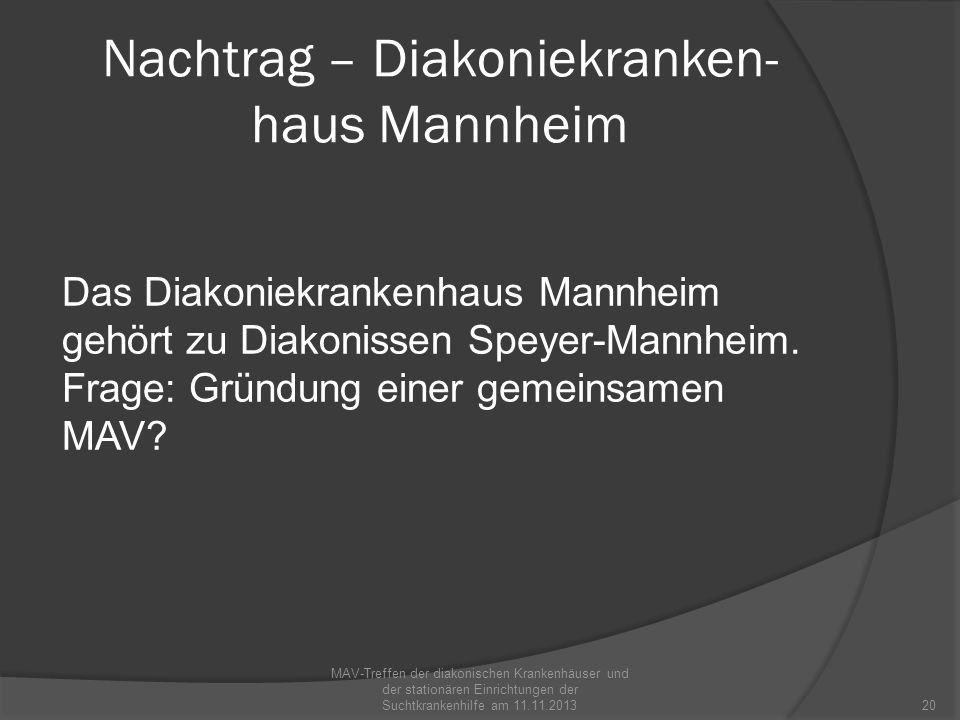 Nachtrag – Diakoniekranken-haus Mannheim