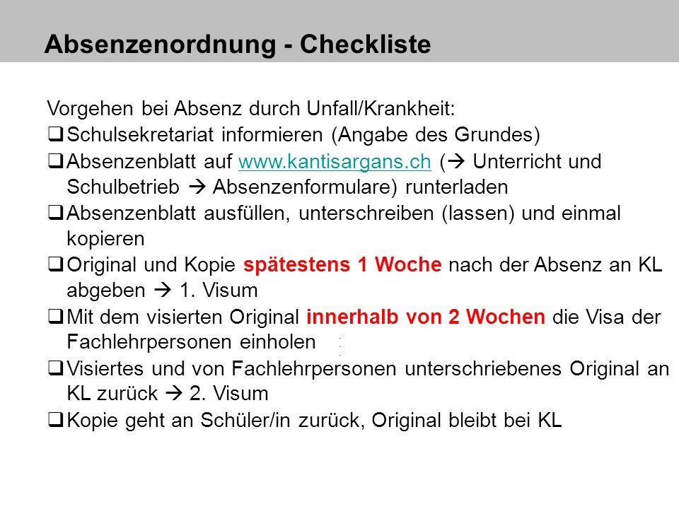 Absenzenordnung - Checkliste