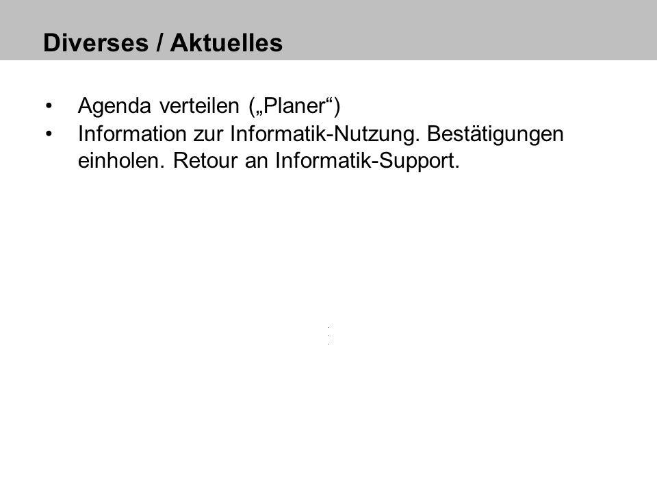 """Diverses / Aktuelles Agenda verteilen (""""Planer )"""